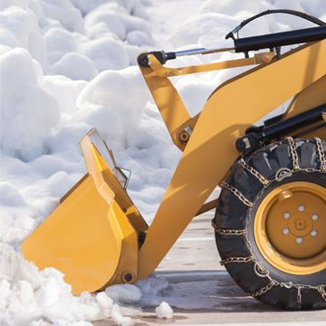 Bulldozer clearing snow